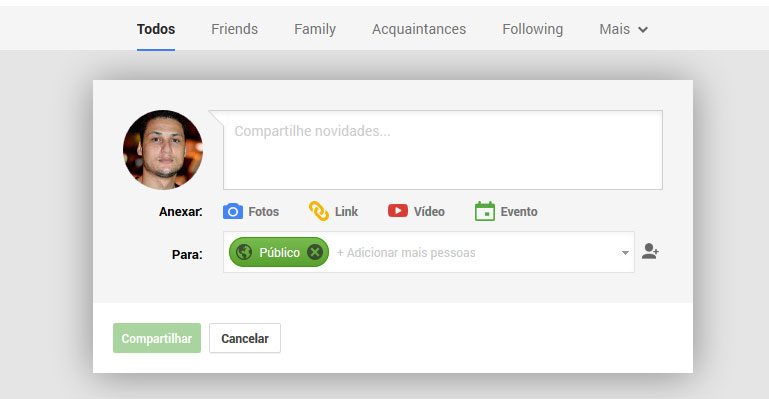 compartilhando e salvando google+
